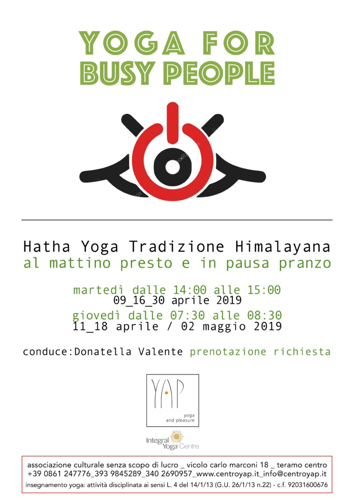 YOGA FOR BUSY PEOPLE la mattino presto e in pausa pranzo
